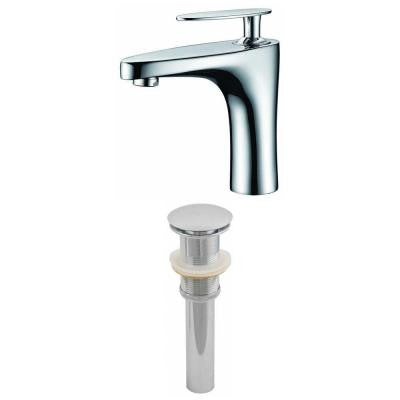 Single Hole 1-Handle Bathroom Faucet in Chrome with Drain