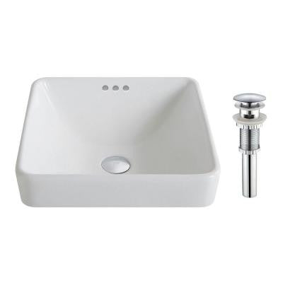 Elavo Semi-Recessed Bathroom Sink in White with Pop-Up Drain in Chrome