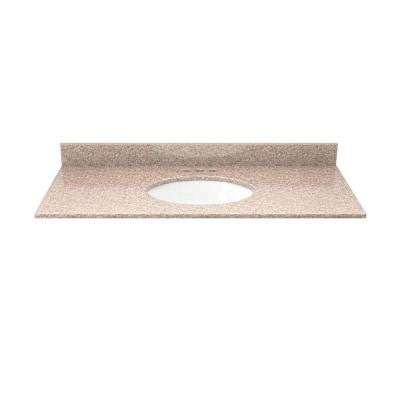 37 in. Granite Vanity Top in Wheat with White Basin