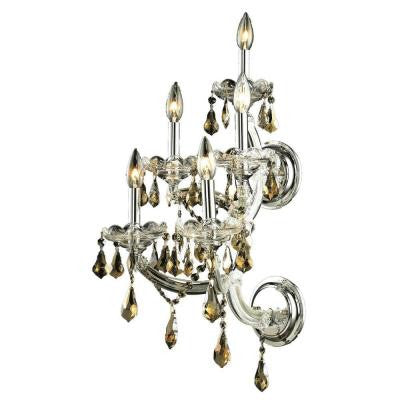 5-Light Chrome Sconce with Golden Teak Smoky Crystal