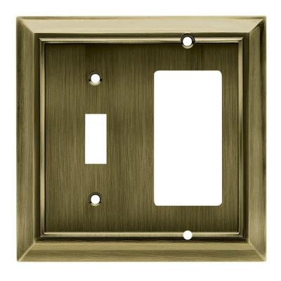 Architectural 1 Toggle and 1 Rocker Wall Plate - Antique Brass