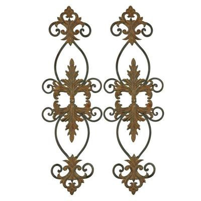 35 in. x 11 in. Rust Brown Decorative Wall Hanging (Set of 2)