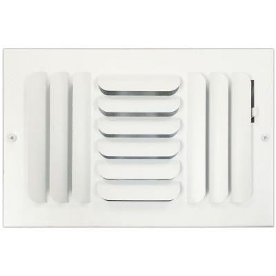 6 in. x 10 in. Ceiling or Wall Register with Curved 3-Way Deflection, White