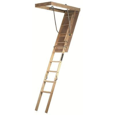Premium Series 7 ft. - 8 ft. 9 in., 25.5 in x 54 in. Wood Attic Ladder with 250 lb. Maximum Load Capacity