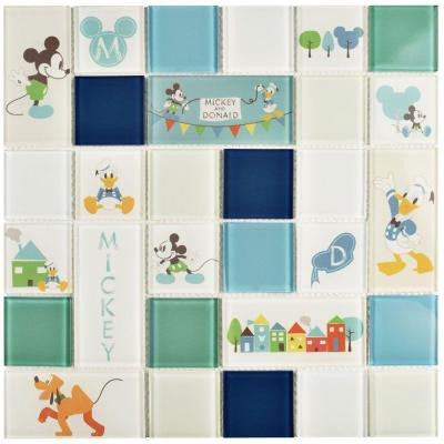 Classic Aqua 11-3/4 in. x 11-3/4 in. x 5 mm Glass Mosaic Tile