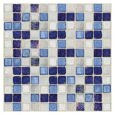 Egyptian Glass Sapphire Collage 12 in. x 12 in. x 6 mm Glass Face-Mounted Mosaic Wall Tile