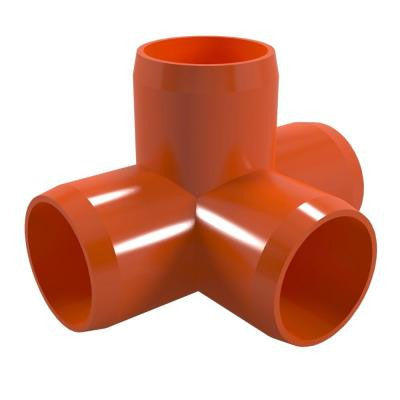 3/4 in. Furniture Grade PVC 4-Way Tee in Orange (8-Pack)