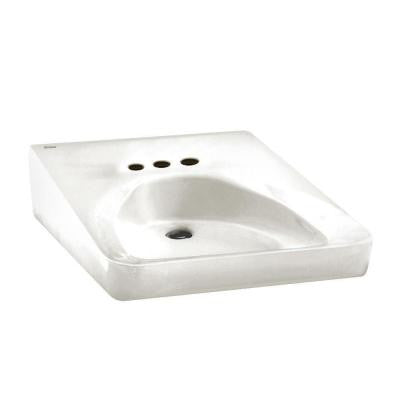 Wheelchair Users Wall Hung Bathroom Sink in White with 4 in. Faucet Hole