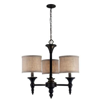 Jaxson Collection 3-Light Oil-Rubbed Bronze Chandelier with Crafty Burlap Fabric Shades