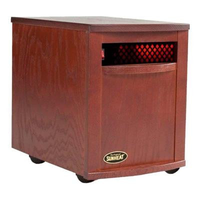 1500-Watt 6-Element Large Room Infrared Portable Heater - Mahogany Cabinet
