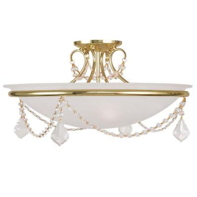 Providence 3-Light Polished Brass Incandescent Ceiling Semi Flush Mount