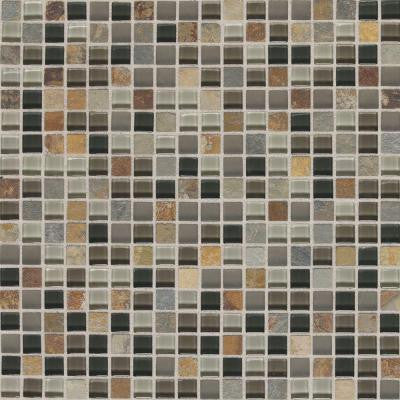 Slate Radiance Flint 11-3/4 in. x 11-3/4 in.x 8 mm Glass and Stone Mosaic Blend Wall Tile