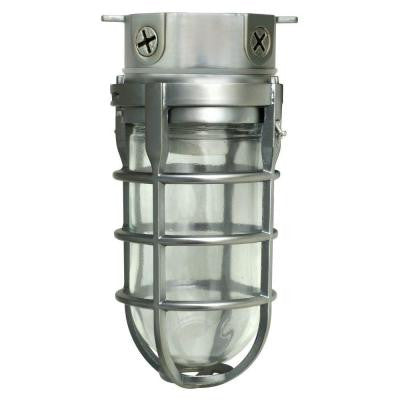 100-Watt Brushed Steel Incandescent Industrial Ceiling Work Light