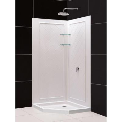 QWALL-4 42 in. x 42 in. x 76-3/4 in. Standard Fit Shower Kit in White with Shower Base and Back Wall