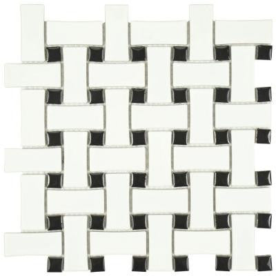 Metro Basket Weave Matte White and Black 10-1/2 in. x 10-1/2 in. x 5 mm Porcelain Mosaic Floor and Wall Tile