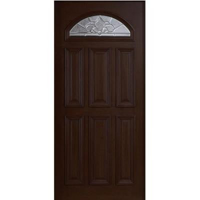 36 in. x 80 in. Mahogany Type Fan Lite Glass Prefinished Espresso Beveled Zinc Solid Wood Front Door Slab