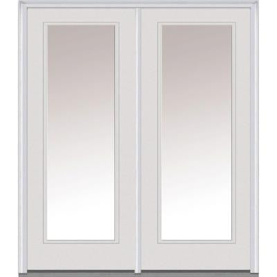 64 in. x 80 in. Clear Glass Builder's Choice Steel Prehung Left-Hand Inswing Full Lite Patio Door
