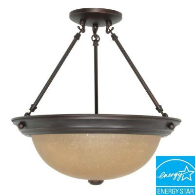 3-Light Metal Mahogany Bronze Ceiling Semi-Flush Mount Dome Fixture