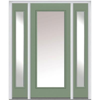 60 in. x 80 in. Classic Clear Glass Full Lite Painted Fiberglass Smooth Prehung Front Door with Sidelites