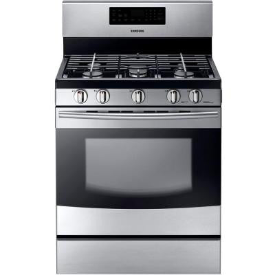 30 in. 5.8 cu. ft. Gas Range with Self-Cleaning Oven and 5 Burner Cooktop with Griddle in Stainless Steel