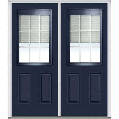64 in. x 80 in. Classic Clear RLB GBG Low-E Glass 1/2-Lite Painted Steel Double Prehung Front Door