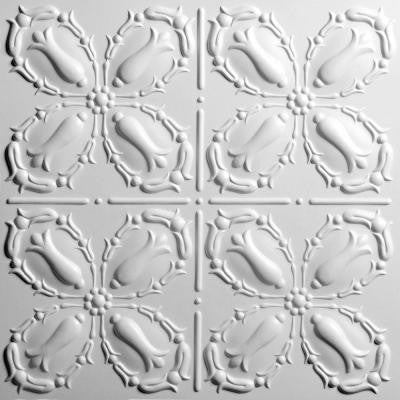 Orleans White 2 ft. x 2 ft. Lay-in or Glue-up Ceiling Panel (Case of 6)