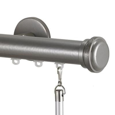 Tekno 25 Decorative 132 in. Traverse Rod in Antique Silver with Empire Finial