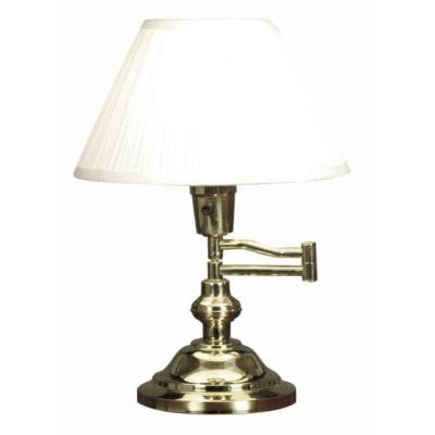 Classic 15 in. Polished Brass Swing Arm Desk Lamp