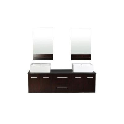 Skyline 73 in. W x 21.5 in. D Vanity in Espresso Granite Vanity Top in Absolute Black with White Basins and Mirrors