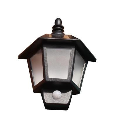 Solar Powered Black Plastic Wall Mounted Outdoor Light