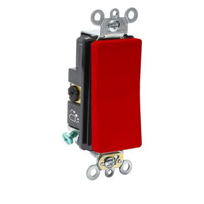 20 Amp 120/277-Volt Antimicrobial Treated Decora Plus 3-Way Rocker Switch - Red