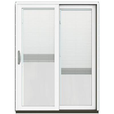 59-1/4 in. x 79-1/2 in. W-2500 Chestnut Bronze Prehung Right-Hand Clad-Wood Sliding Patio Door with Blinds