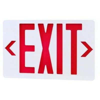 2-Light White LED Exit Sign with Red Letters