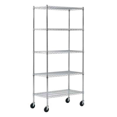 72 in. H x 36 in. W x 18 in. D 5 Tier Chrome Wire Mobile Commercial Shelving Unit