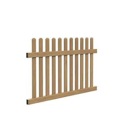4 ft. x 6 ft. Seneca Straight Cypress Vinyl Fence Panel Kit
