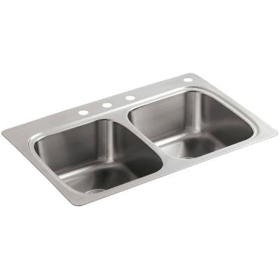 Verse Top Mount Stainless Steel 33 in. 4-Hole Double Bowl Kitchen Sink