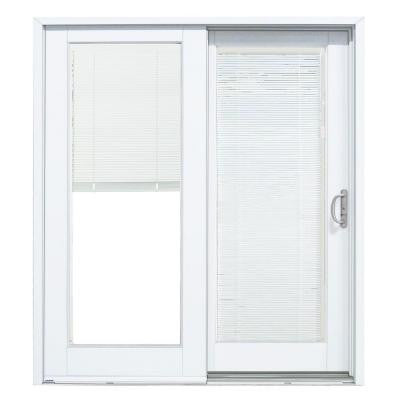 Composite White Right-Hand Woodgrain Interior with Low-E Blinds Between Glass DP-50 Sliding Patio Door