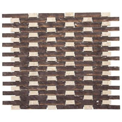 Weathered Sable 13.5 in. x 11 in. x 8 mm Glass/Light Emperador Mosaic Wall Tile