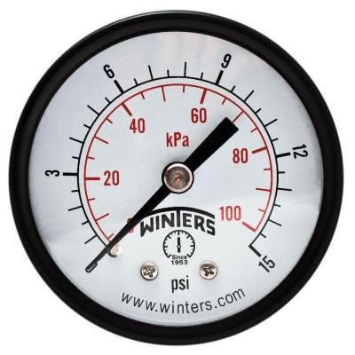 PEM-LF Series 2 in. Lead-Free Brass Pressure Gauge with 1/4 in. NPT CBM and 0-15 psi/kPa