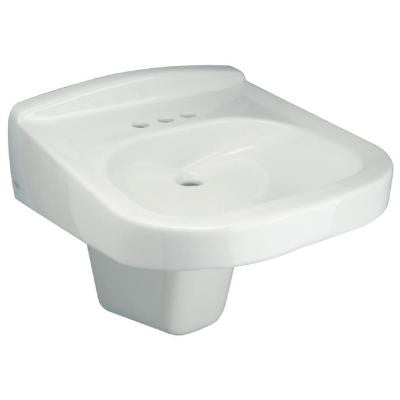 Wall Hung Bathroom Sink with Half Pedestal in White