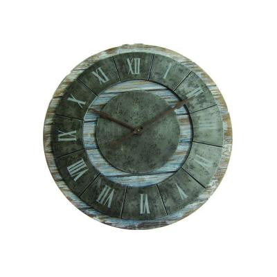 36 in. x 36 in. Circular Iron Wall Clock in Dark Gray Iron Frame