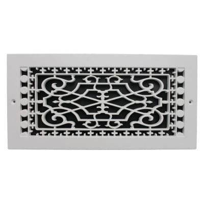 Victorian Wall Mount 6 in. x 14 in. Polymer Resin Decorative Cold Air Return Grille, White