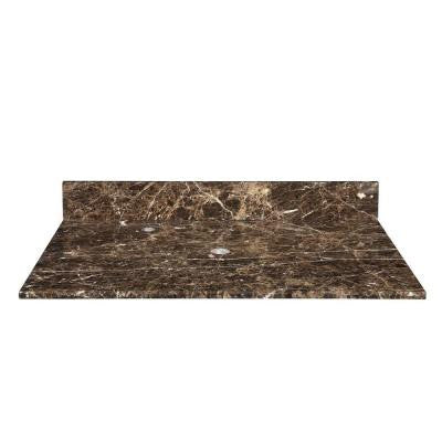 37 in. Marble Vanity Top in Dark Emperador without Basin