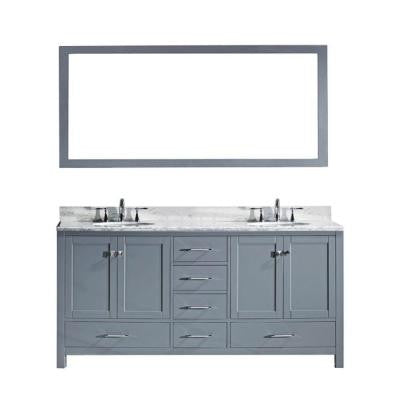 Caroline Avenue 60.8 in. Double Vanity in Grey with Marble Vanity Top and Mirror in Italian Carrara White