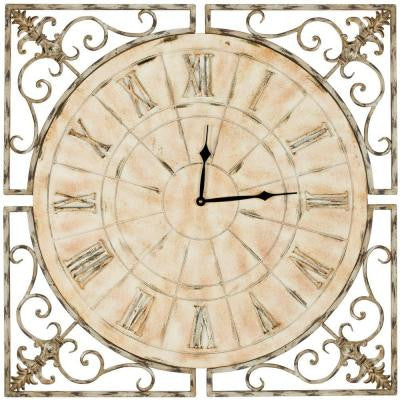 Kathleen 27 in. Square Clock in Distressed Antique White