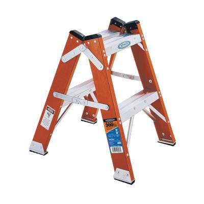 2 ft. Fiberglass Twin Step Ladder with 300 lb. Load Capacity Type IA Duty Rating