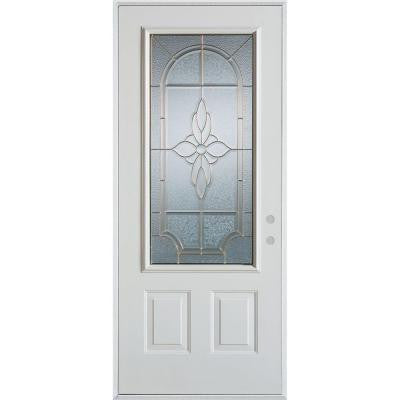 32 in. x 80 in. Traditional Brass 3/4 Lite 2-Panel Prefinished White Left-Hand Inswing Steel Prehung Front Door
