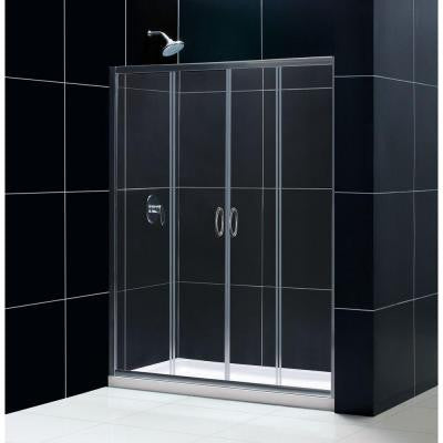 Visions 30 in. x 60 in. x 74-3/4 in. Framed Sliding Shower Door in Brushed Nickel with Center Drain Base