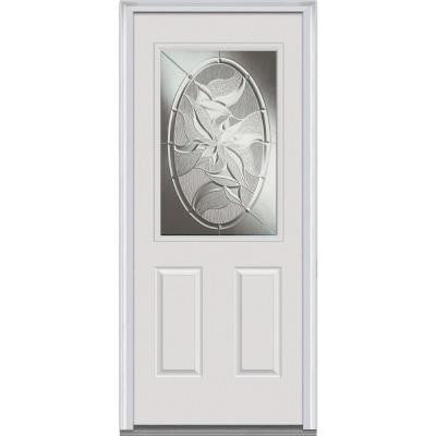 32 in. x 80 in. Lasting Impressions Decorative Glass 1/2 Lite 2-Panel Primed White Steel Prehung Front Door