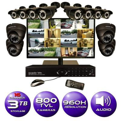 16-CH 960H Surveillance System with 3TB Hard Drive (12) 800TVL Cameras 2 Audio Mic Kits and 21.5 in. LED Monitor